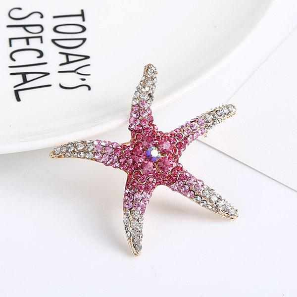 Rhinestone Cute Starfish Brooch - ROSE RED