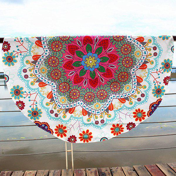Boho Floral Printing Round Beach Throw floral color block beach throw
