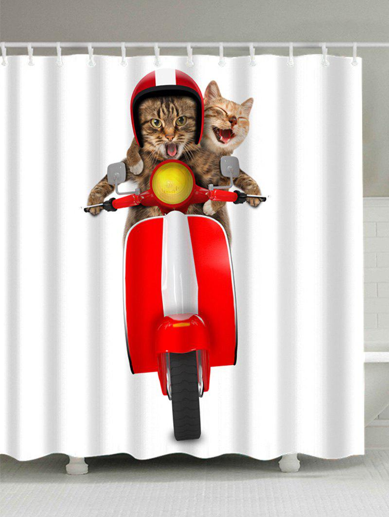 3D Cats Riding Motorcycle Shower Curtain   COLORFUL W71 INCH * L71 INCH