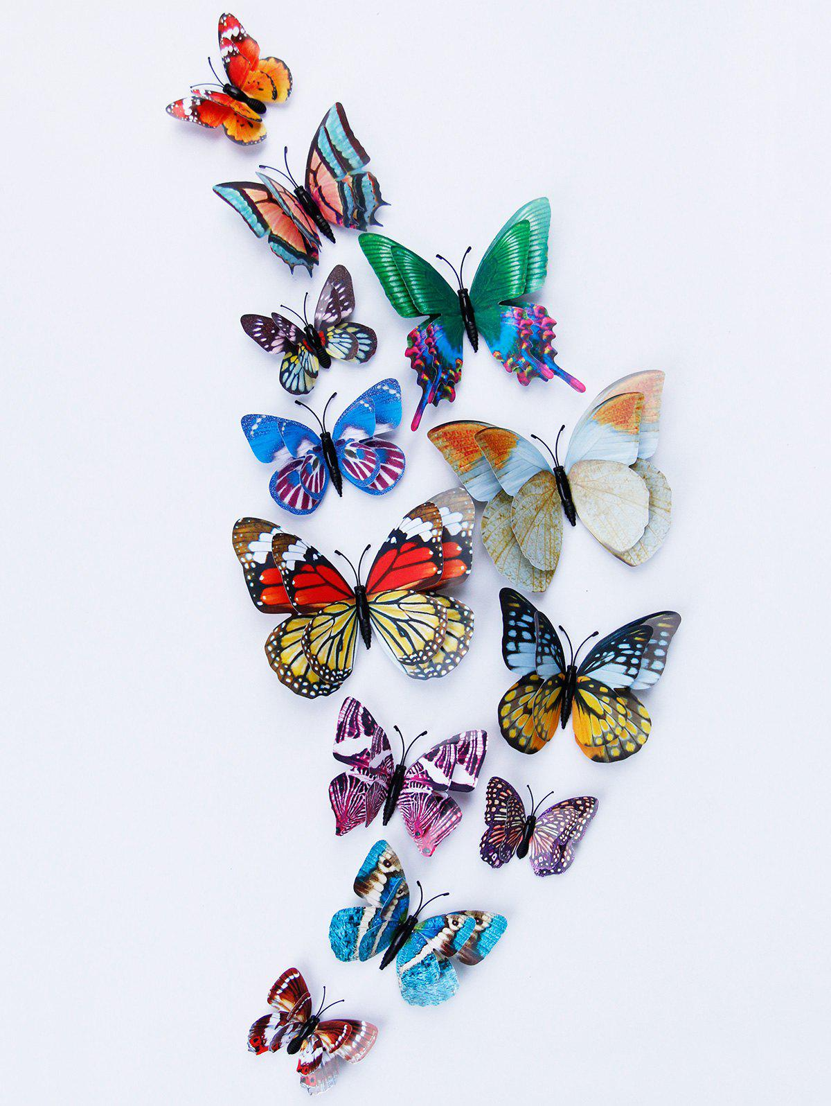 3D Double Layer Luminous Butterfly Wall Stickers   COLORFUL