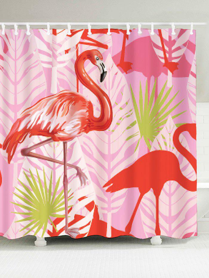 Bathroom Waterproof Fabric Flamingo Bath Curtain   PINK W71 INCH * L79 INCH