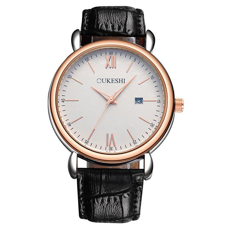 OUKESHI Minimalist Faux Leather Strap Date Watch - Noir