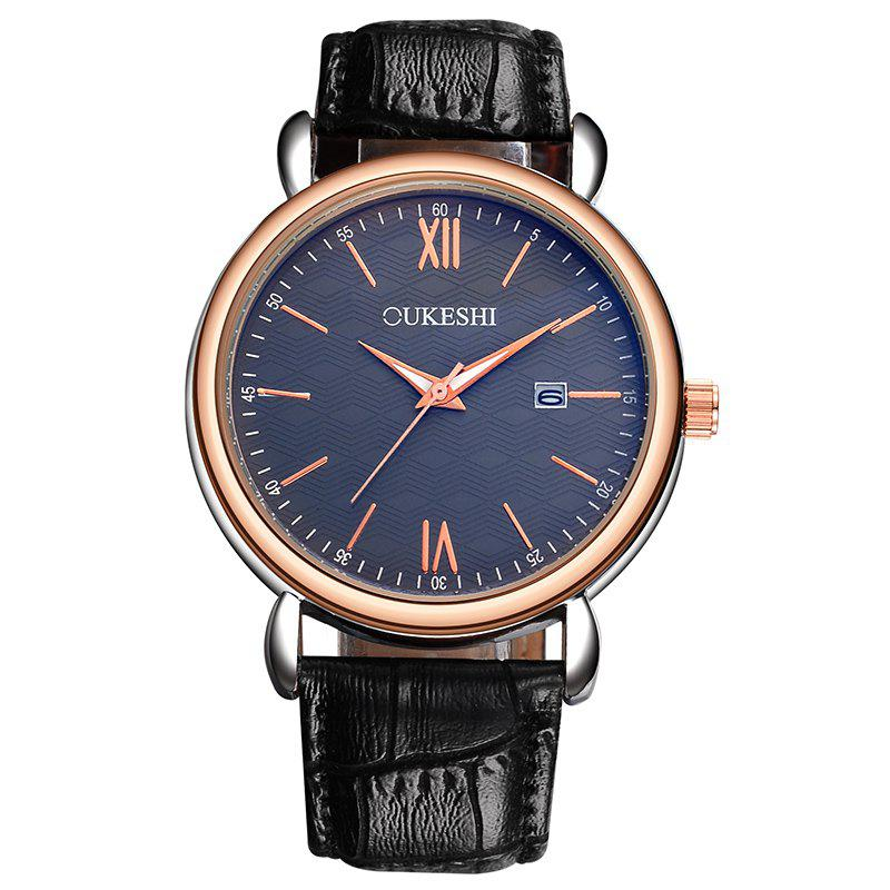 OUKESHI Minimalist Faux Leather Strap Date Watch - Bleu et Noir