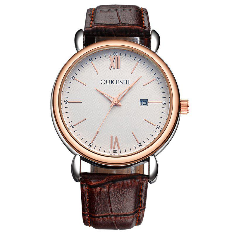 OUKESHI Minimalist Faux Leather Strap Date Watch - Brun