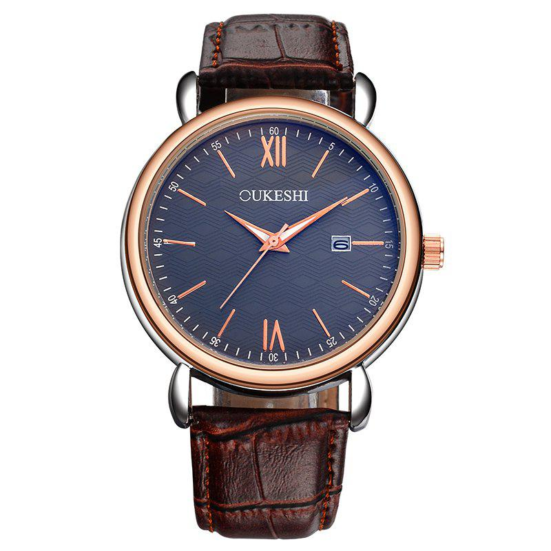 OUKESHI Minimalist Faux Leather Strap Date Watch - Bleu / Brun