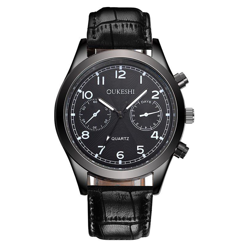 OUKESHI Number Faux Leather Analog Watch - BLACK