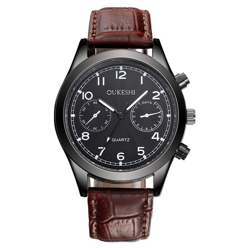 OUKESHI Number Faux Leather Analog Watch - BROWN