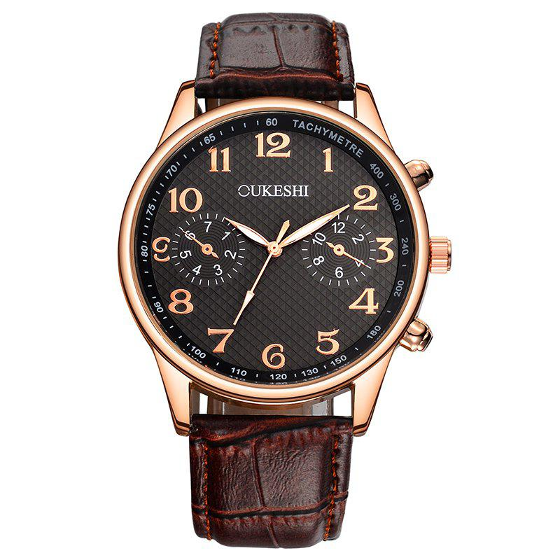 OUKESHI Faux Leather Strap Tachymeter Number Watch - BLACK/BROWN