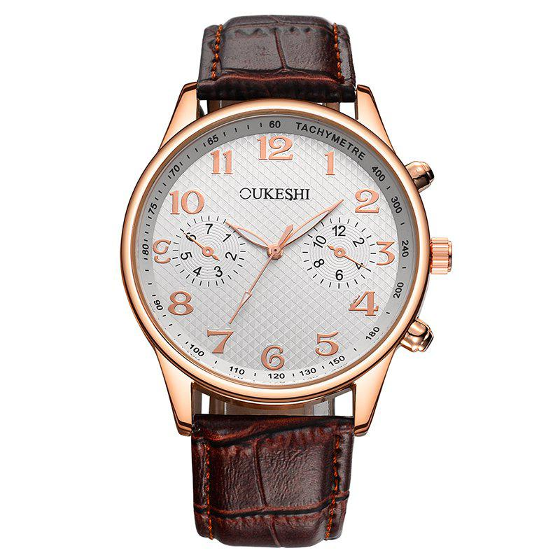 OUKESHI Faux Leather Strap Tachymeter Number Watch - Brun