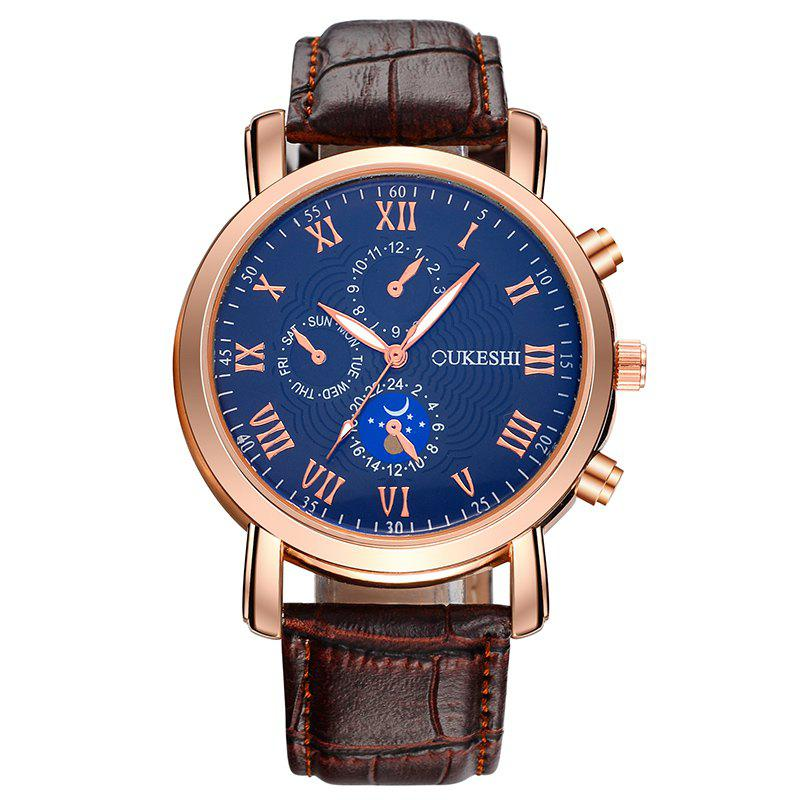 OUKESHI Roman Numeral Faux Leather Watch - BLUE / BROWN