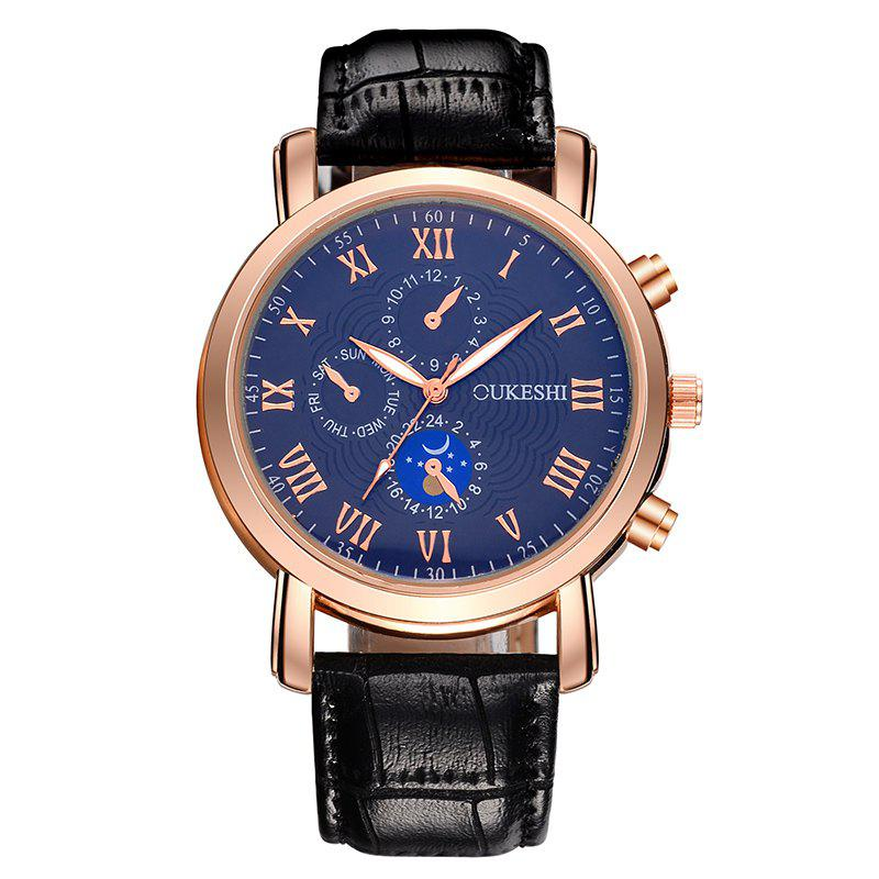 OUKESHI Roman Numeral Faux Leather Watch - BLUE/BLACK