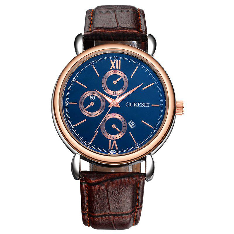 OUKESHI Number Date Faux Leather Watch - BLUE / BROWN
