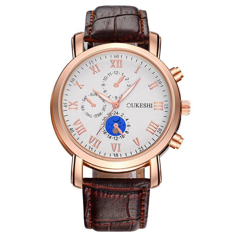 OUKESHI Roman Numeral Faux Leather Watch - BROWN