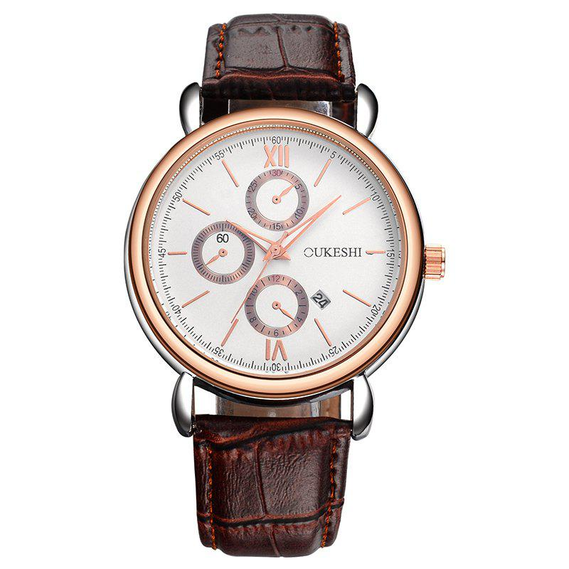 OUKESHI Number Date Faux Leather Watch - BROWN