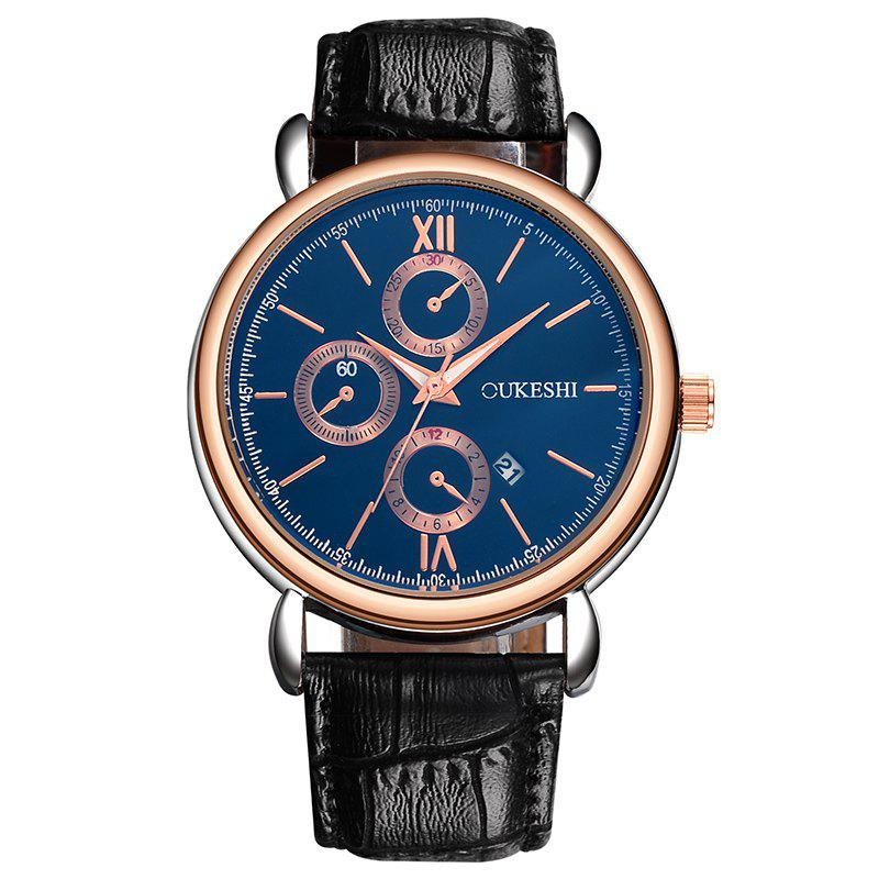 OUKESHI Number Date Faux Leather Watch - BLUE/BLACK