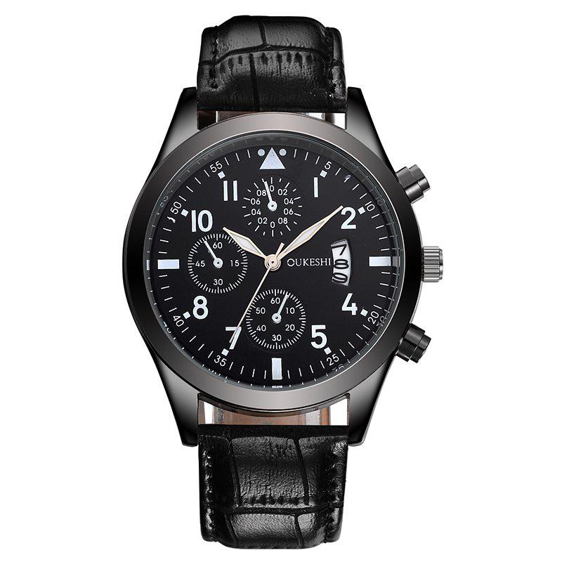 OUKESHI Date Faux Leather Watch - Noir