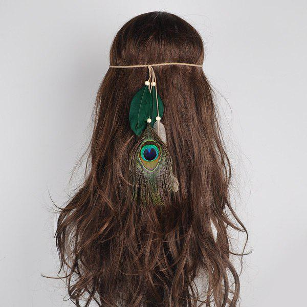 Charm Indian Peacock Feather Headwear - Vert