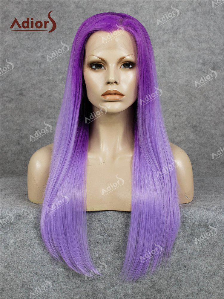Adiors Long Free Part Straight Ombre Lace Front Synthetic Wig - PURPLE