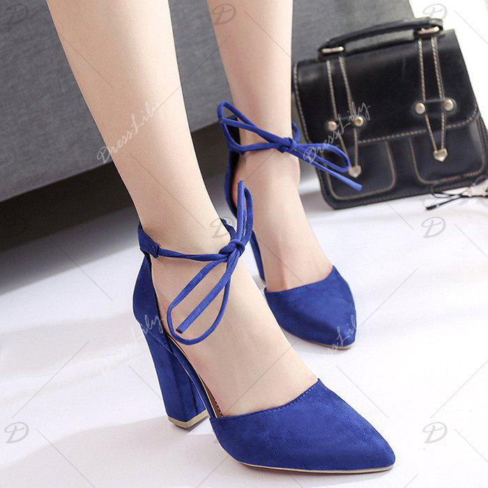 Chunky Heel Pointed Toe Ankle Lace Pumps - BLUE 40
