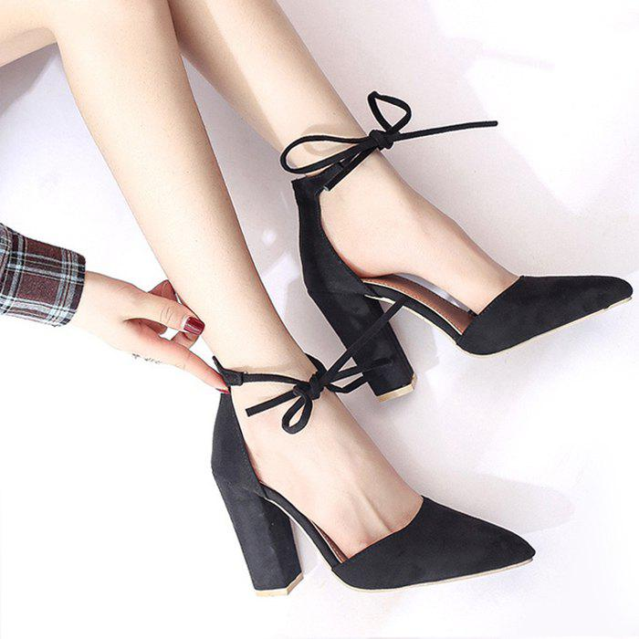 Chunky Heel Pointed Toe Ankle Lace Pumps - BLACK 38