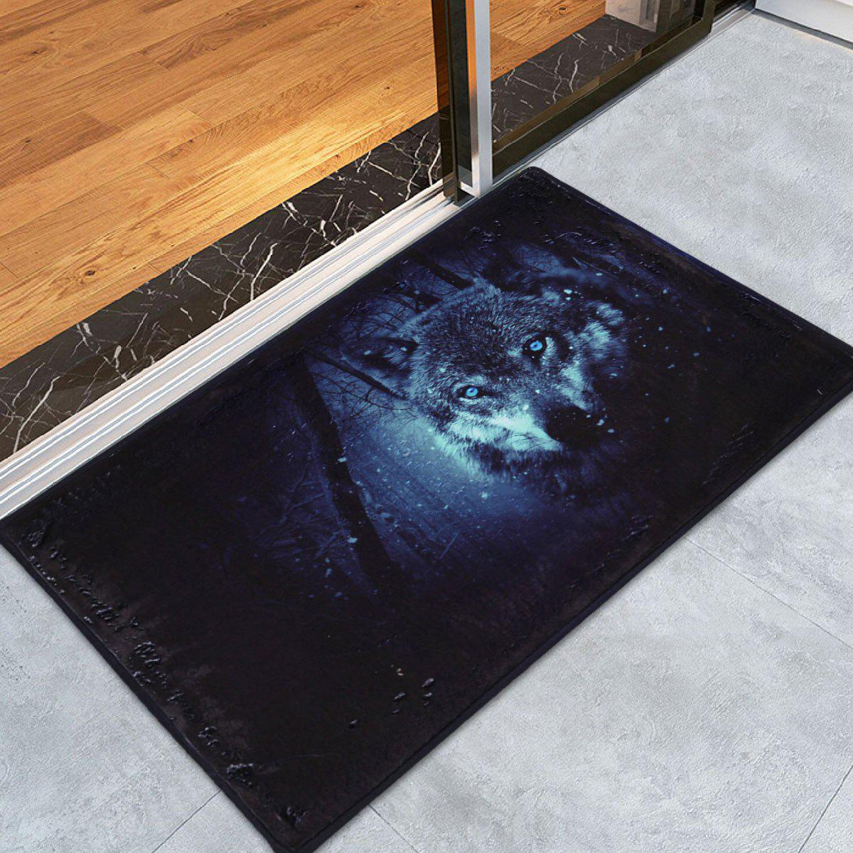 Coral Fleece Slip Resistant Snow Wolf Area Rug