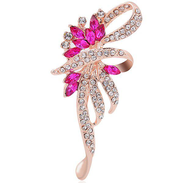 Flower Shape Rhinestone Inlaid Faux Crystal Brooch elegant faux gem rhinestone flower leaf brooch for women