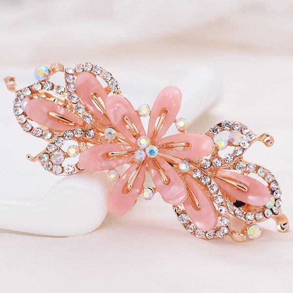 Barrette en Alliage Orné de Crystal Fantaisies - Rose Clair