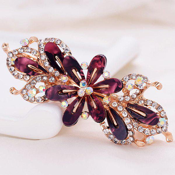 Faux Crystal Flower Alloy Hollow Out Barrette - Rouge