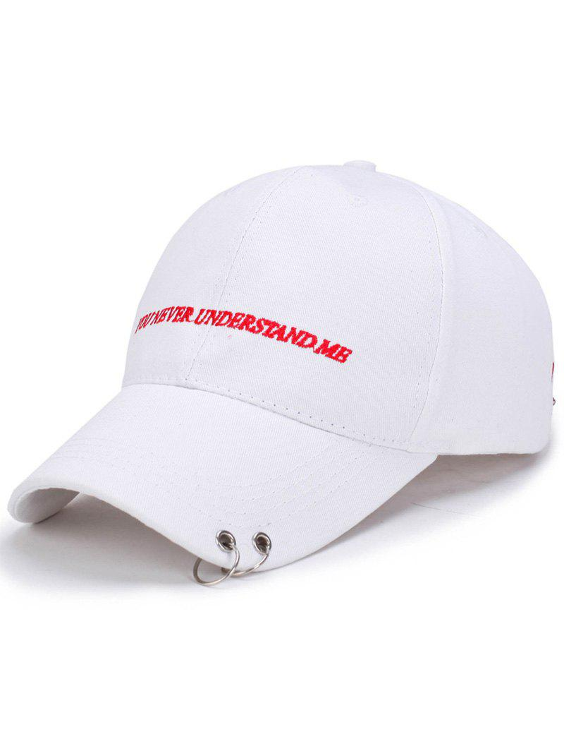 Letters Embroidery Double Circles Baseball Cap - WHITE
