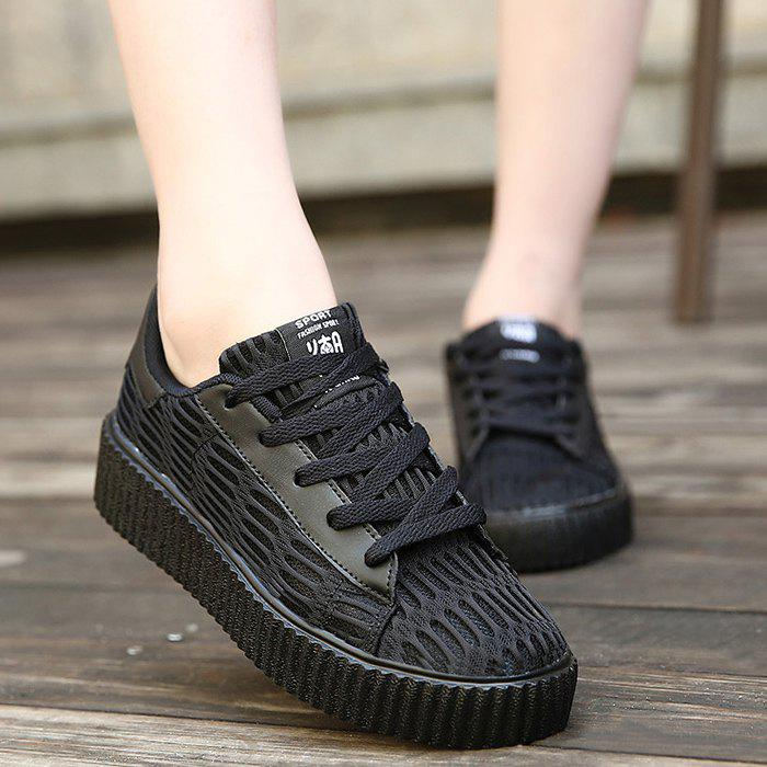 Lace Up Breathable Mesh Athletic Shoes - BLACK 39