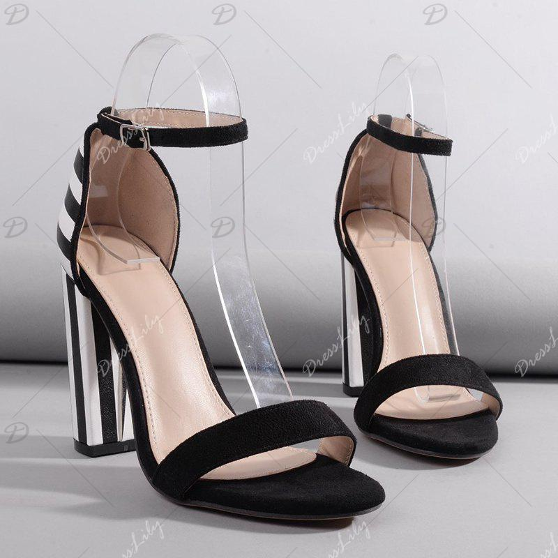 Striped Pattern Ankle Strap Sandals - BLACK WHITE 39