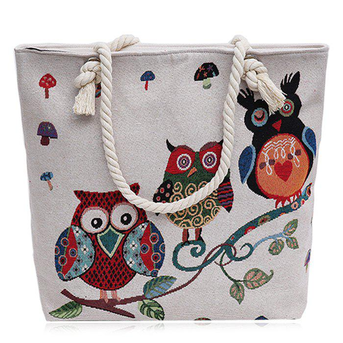 Cartoon Owl Jacquard Canvas Beach Bag - WHITE