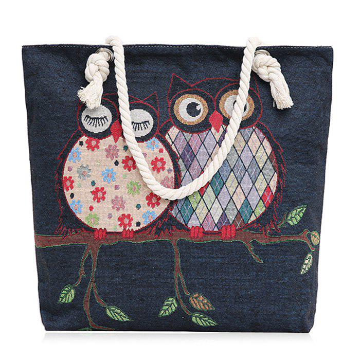 Cartoon Owl Jacquard Canvas Beach Bag - DENIM BLUE