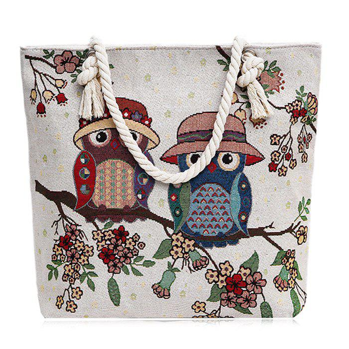 Cartoon Owl Jacquard Canvas Beach Bag - BLUE/WHITE