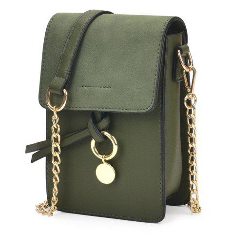 Metal Detail Chain Crossbody Bag - GREEN