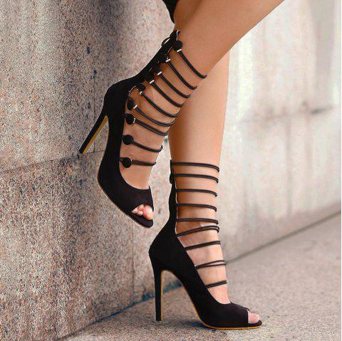 Bottes Stiletto Heel Peep Toe Shoes - Noir 39