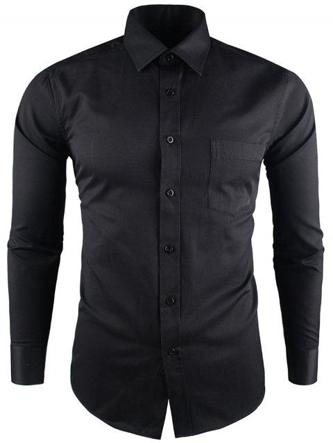 Pocket Long Sleeve Business Twill Shirt - BLACK 39