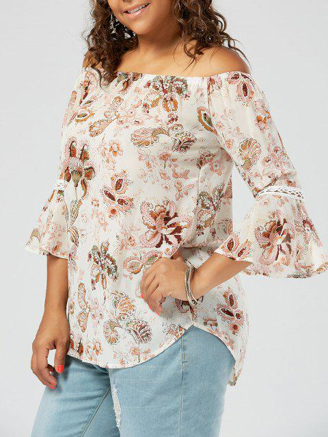 Floral Printed Plus Size Chiffon Off The Shoulder Top - PINK 5XL