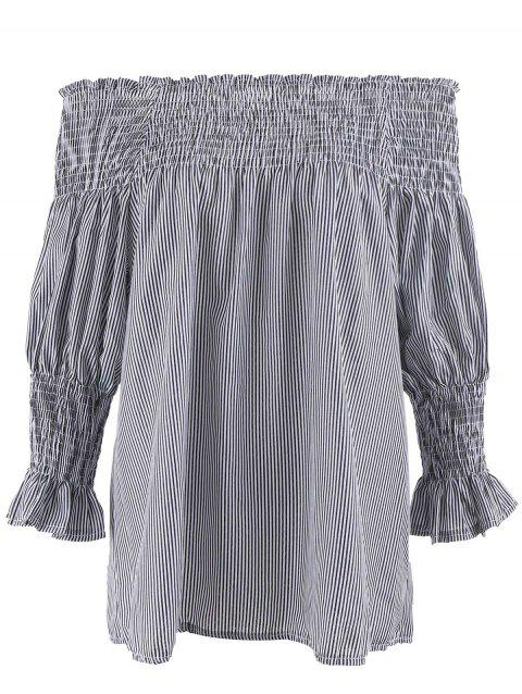 Plus Size Striped Ruffled Off The Shoulder Top - GRAY 5XL