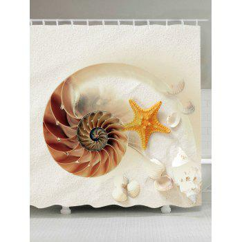 Starfish Conch Shell Waterproof Shower Curtain