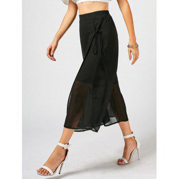 Lace Up Chiffon Overlay Wide Leg Pants