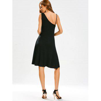Open Back High Waisted Little Black Dress - BLACK M