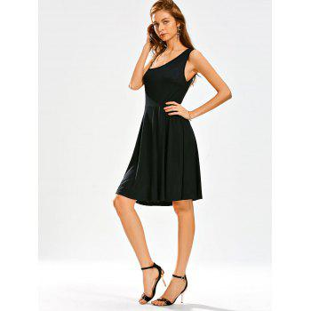 Open Back High Waisted Little Black Dress - M M
