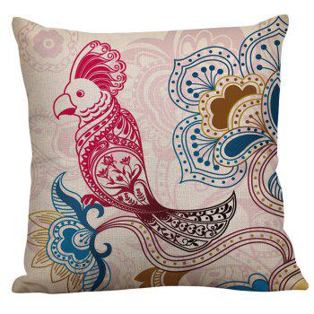 Flower Bird Print Decorative Pillow Case - COLORFUL COLORFUL