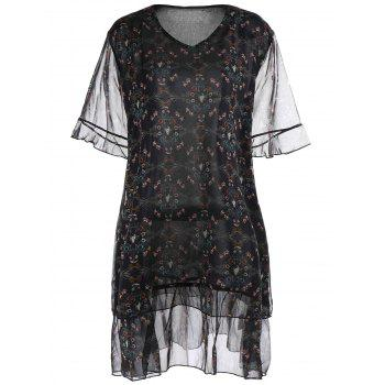 Plus Size Chiffon Printed Ruffle Dress