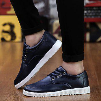 Faux Leather Lace Up Casual Shoes - DEEP BLUE 42