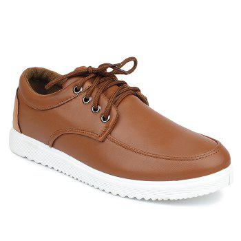 Faux Leather Lace Up Casual Shoes