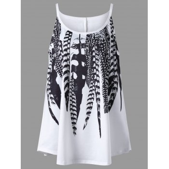 Plus Size Feather Print Tank Top