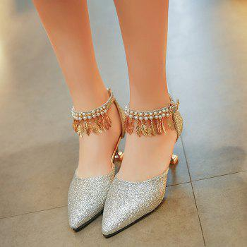 Wedding Beaded Glitter Point Toe Pumps - SILVER 39