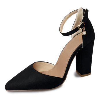 Ankle Strap Chunky Heel Pumps - BLACK 37